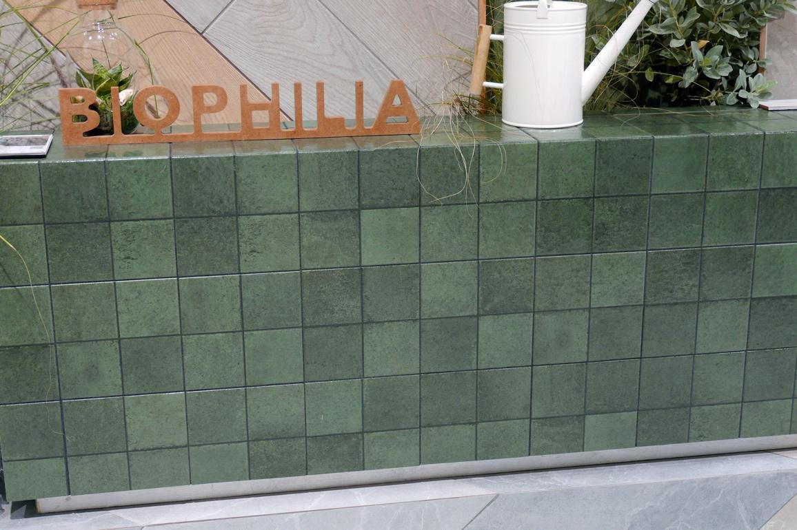 Variegated green tile grid