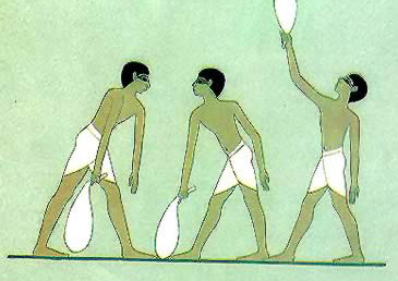 Ancient Egypt saw both men and women training to be physically stronger. This image shows a common weight-lifting practice known as sack swinging.