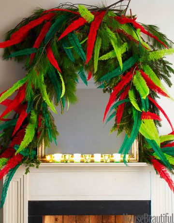 red and green feathers on top of a fireplace