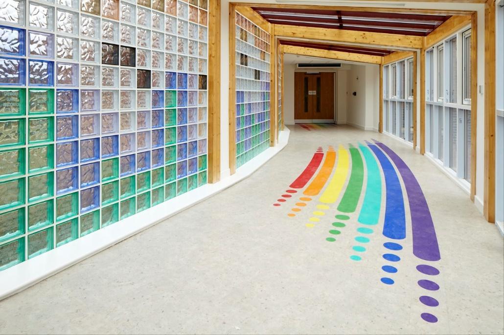 M:\Photos\BUILDING\Current Hospice and Garden Photos\Hospice Building\Various Corridors\Rainbows Light Corridor.jpg