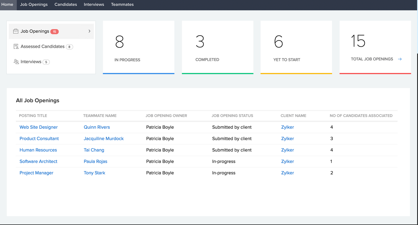 Zoho Recruit's applicant tracking system makes it an effective recruitment automation software to streamline hiring processes