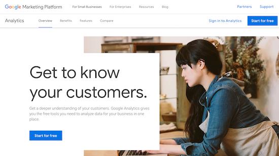 googleanalytics homepage