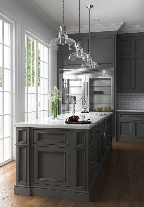 large gray kitchen with matching island french doors and wood floors