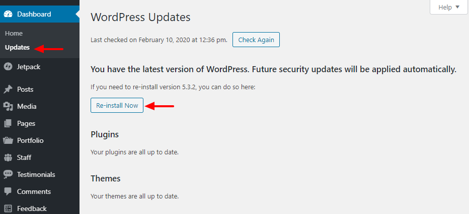 How to reinstall wordpress from the admin panel
