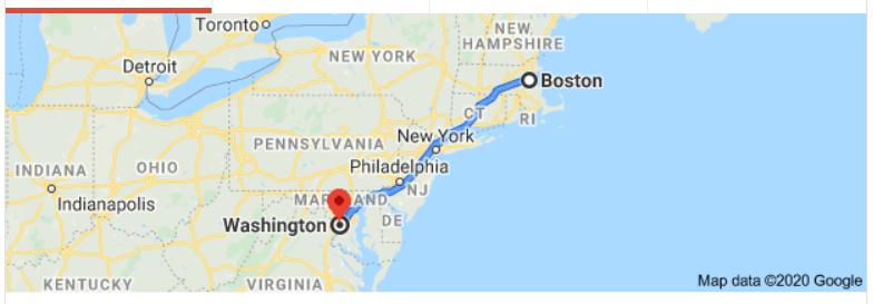 Boston to Washington, DC map