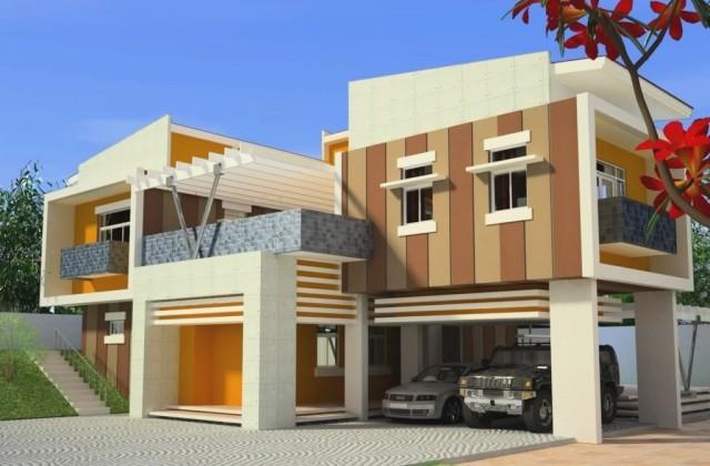 Những ngôi nhà có màu sơn đẹp cùng hai tông màu cam đất và cà phê sữa