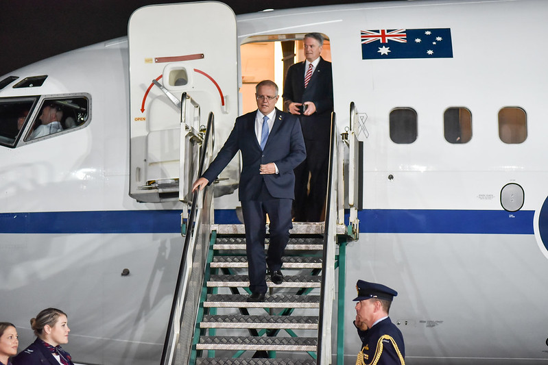 Australian Prime Minister Scott Morrison as he arrives at the Argentina G20 Conference in November, 2019