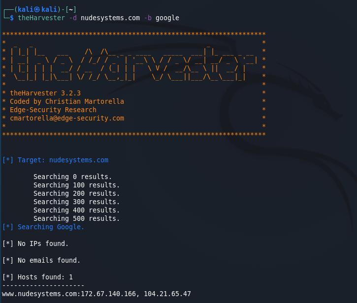 Passive reconnaissance - The Harvester [Kali Linux]. Source: nudesystems.com