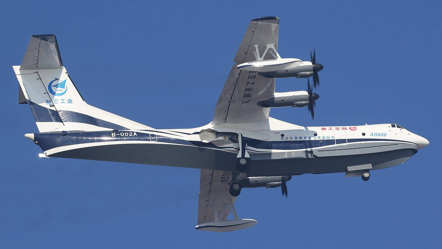 China's Homemade Amphibious Aircraft AG600 Makes Maiden Flight In Zhuhai