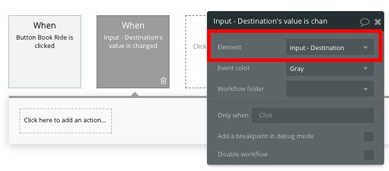 Bubble Uber Clone App Destination Workflow Input