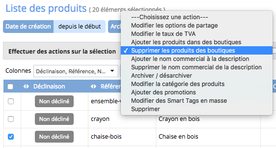 Vous pouvez également supprimer des produits d un site de vente en ligne  depuis le module catalogue et la liste des produits en utilisant l action  groupée ... bb2405c2fa4e