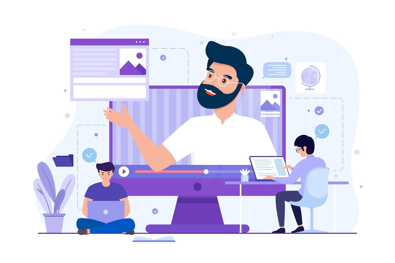 ilustração de profissionais trabalhando via internet