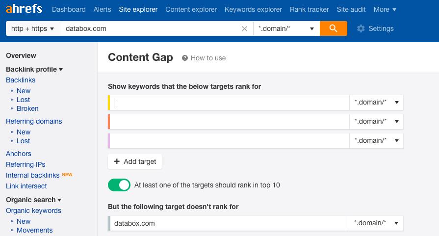 ahrefs content gap report