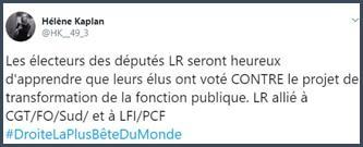 Tweet Hélène Kaplan Les électeurs des députés LR seront heureux d'apprendre que leurs élus ont voté contre le projet de transformation de la fonction publique