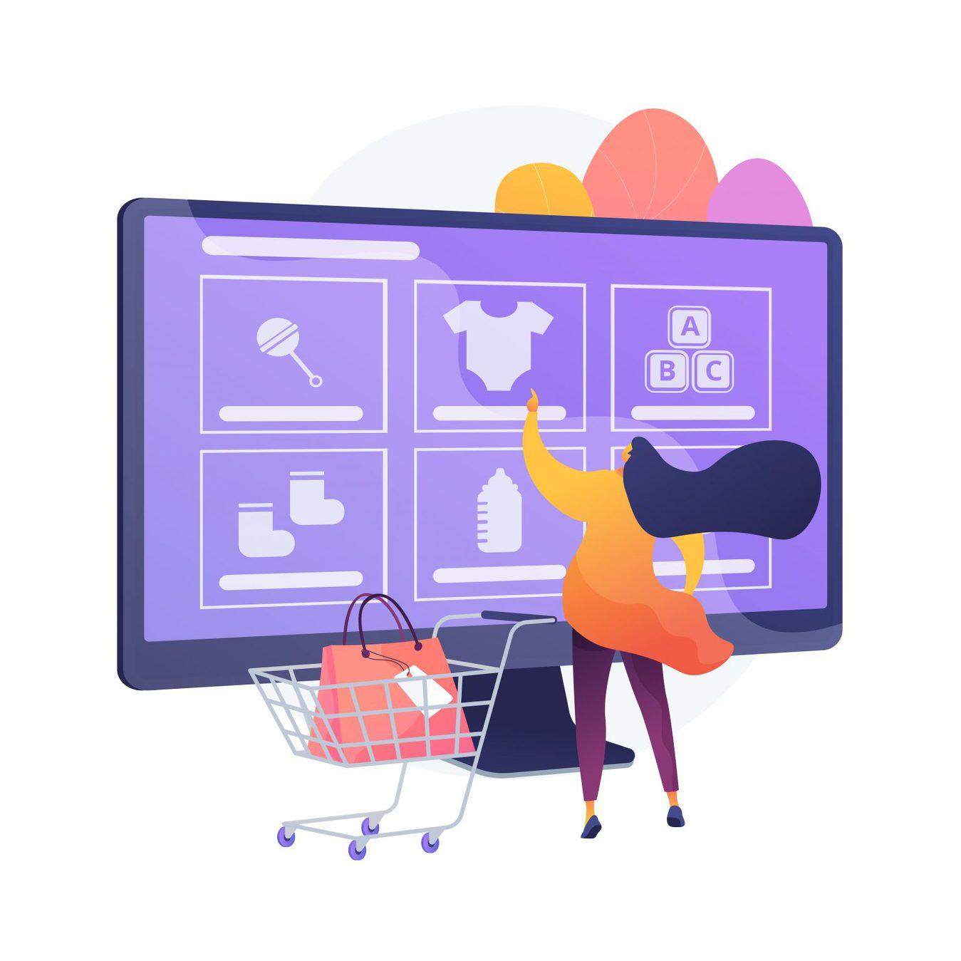An illustration of an online shopper on a computer