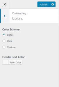 WordPress color settings