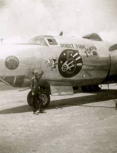 Allen in front of a B-29 that bombed Japan