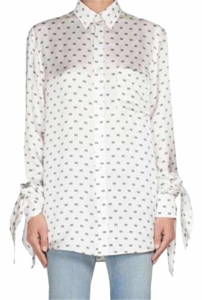 Balenciaga Knot Cuff Printed Silk Blouse $1,485