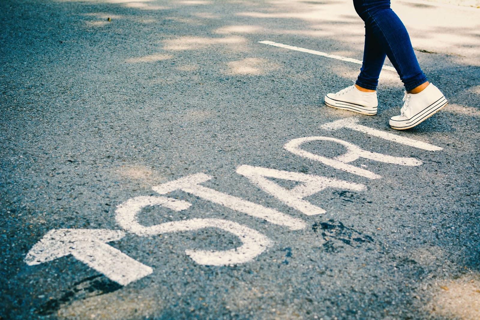 start painted on the street