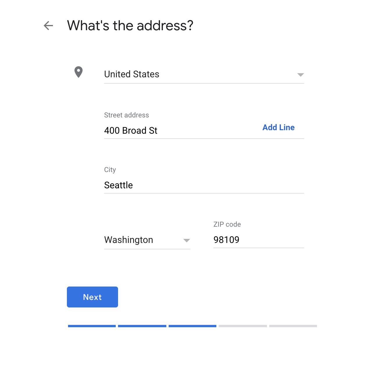Google My Business physical address set up.