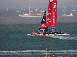 New Zealand sailing in front of Alcatraz at Americas Cup in San Francisco