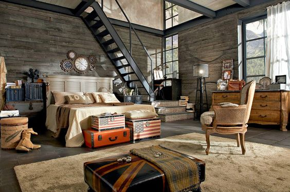 Steampunk Mix Rustic Style in Bedroom