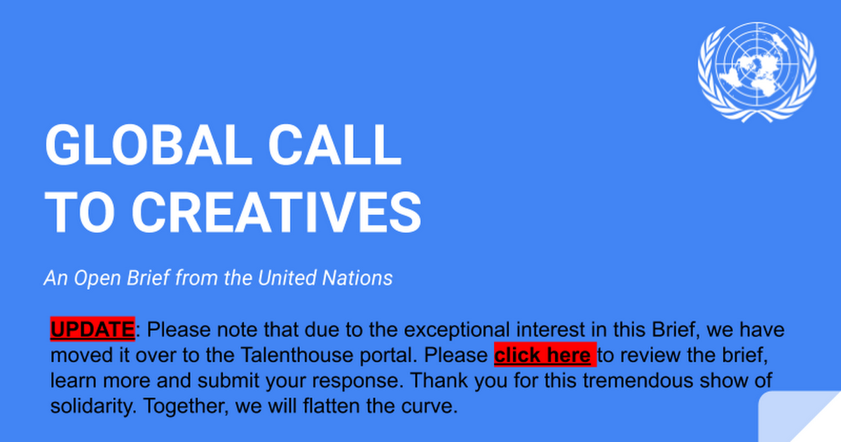 OPEN BRIEF: Global Call to Creatives - Shared