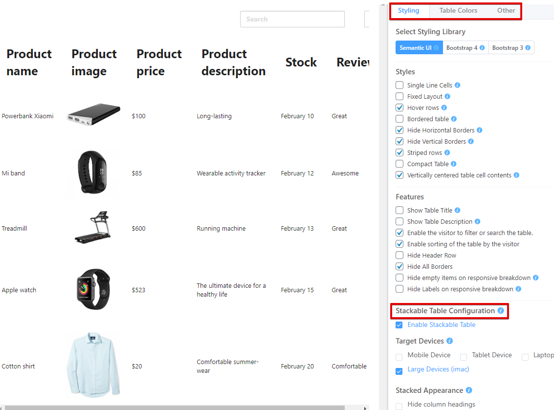 Library styles of WooCommerce product table plugin