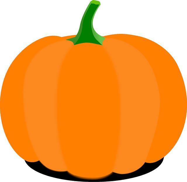 Pumpkin, Cartoon, Orange, Stem