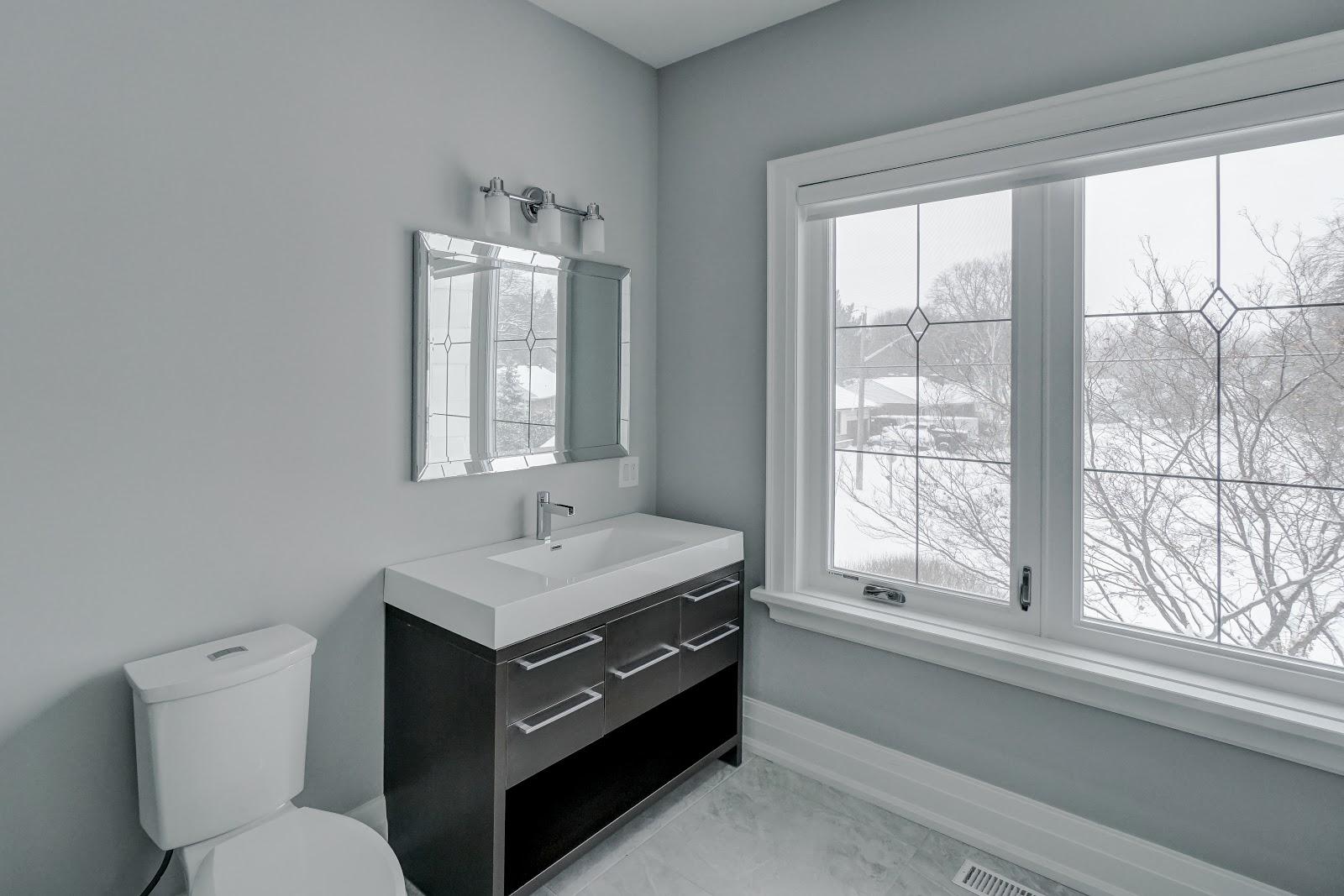 Grey Floors White Kitchen Cabinets
