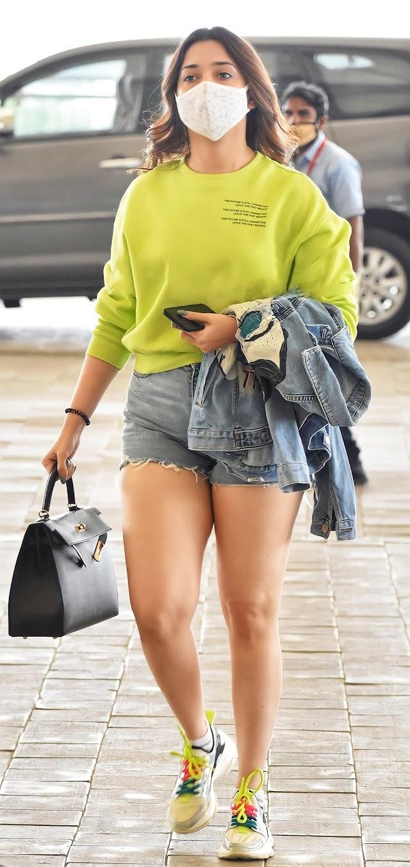 Gorgeous Tamanna Bhatia In Yellow Sweat Shirt and Shorts 4K Ultra HD