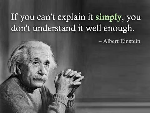 """A famous Albert Einstein quote reading """"If you can't explain it simply, you don't understand it well enough."""""""