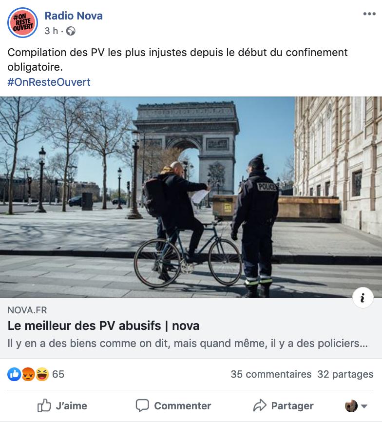Post facebook de Radio Nova pendant le confinement