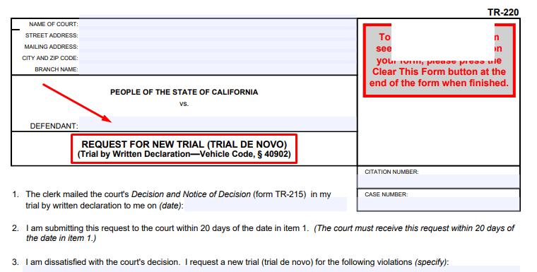 Request for New Trial (Trial De Novo) - California - Form TR-220