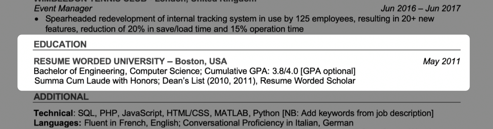 An example education section you can include on your resume