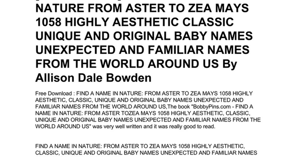 find-a-name-in-nature-from-aster-to-zea-mays-1058-highly
