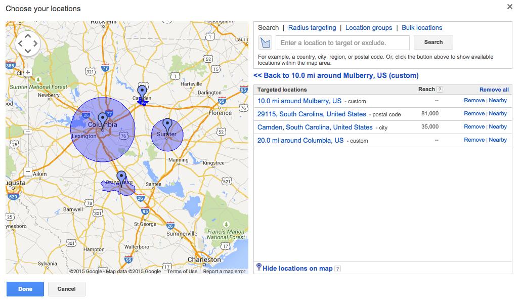 google ads targeting screenshot