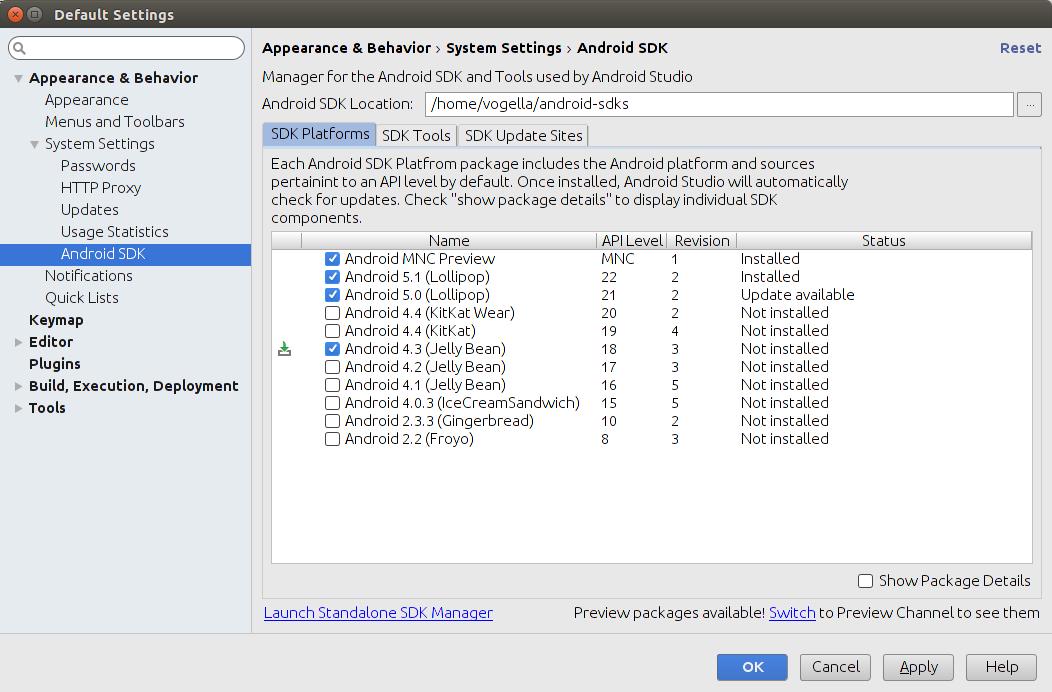 Install Android API