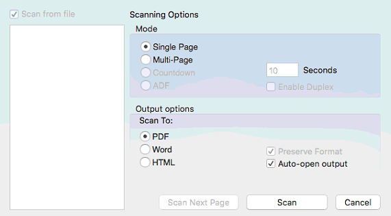 Scanning Option Window