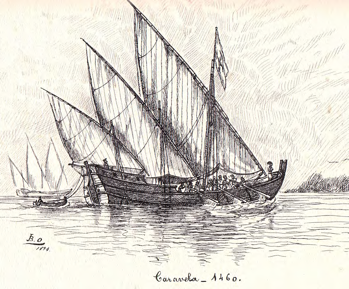 Illustration of a caravel depicting its square and triangular sails.