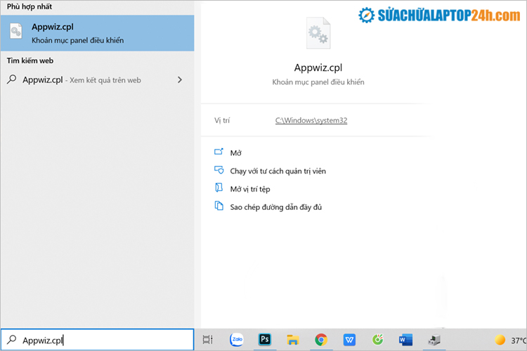 Nhập Appwiz.cpl vào khung tìm kiếm trên Start Menu