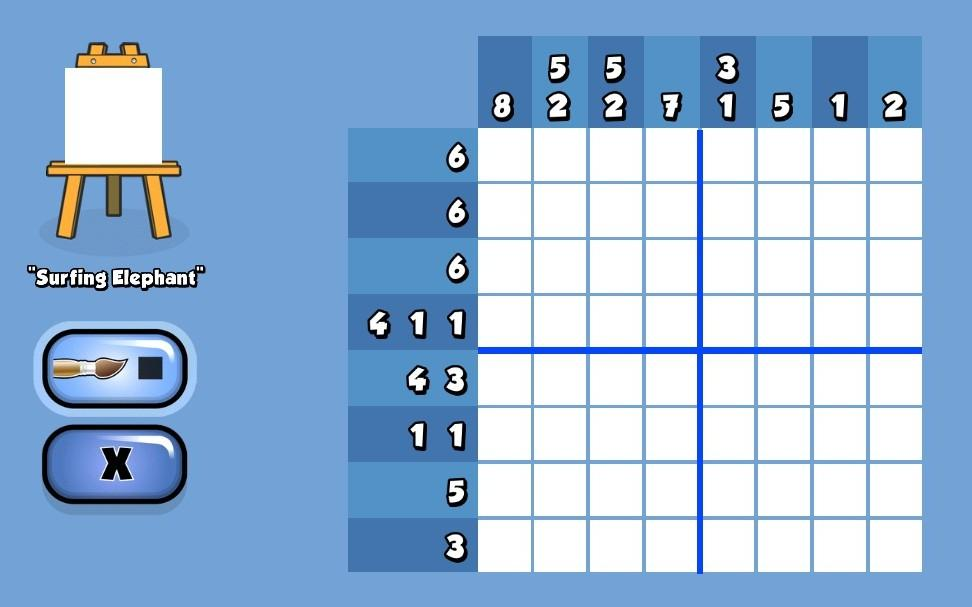 "An 8 x 8 grid puzzle against a blue background. The puzzle is called ""Surfing Elephant""."
