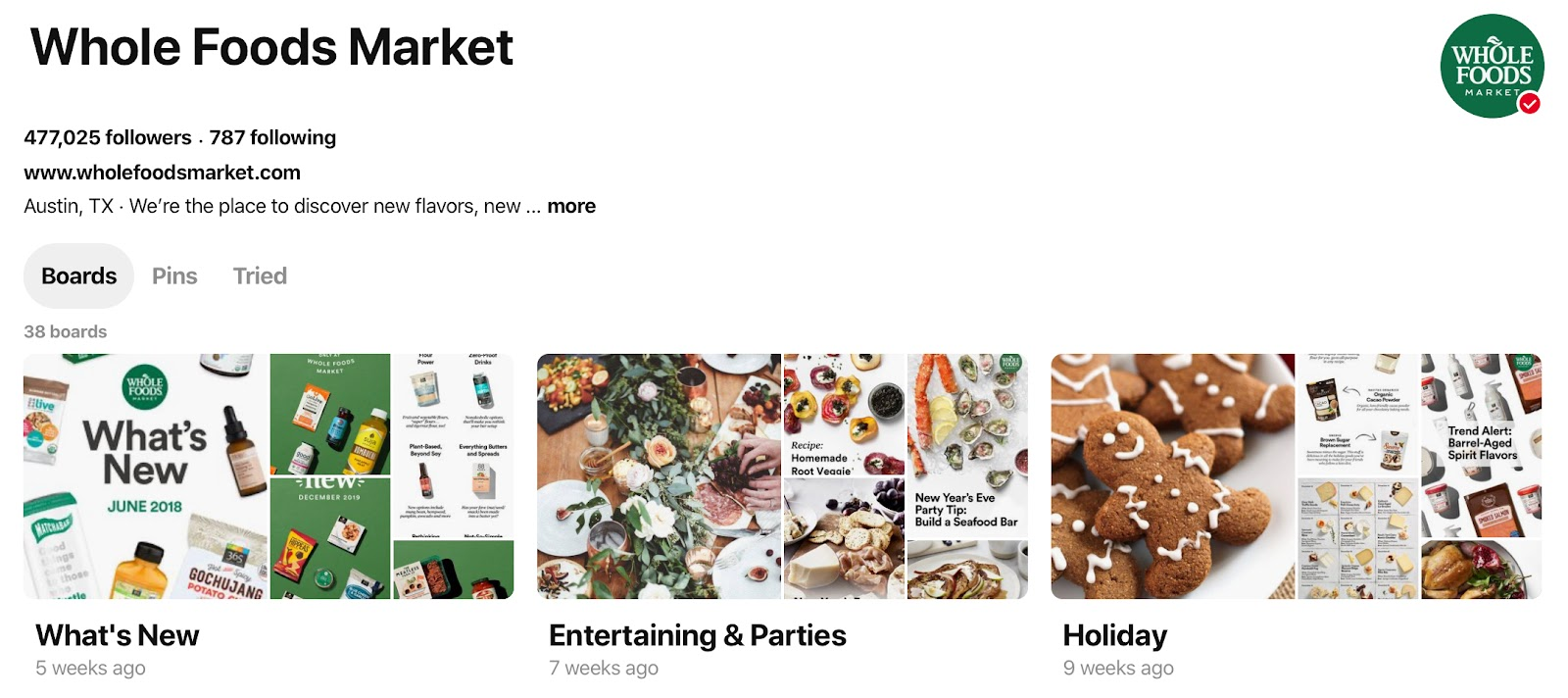 Whole Foods' content tailored to their Pinterest audience.