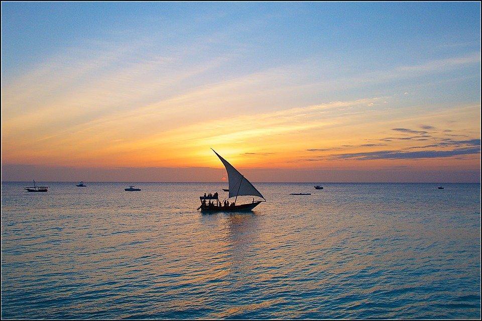 Zanzibar, Coucher De Soleil, Voile, Soirée