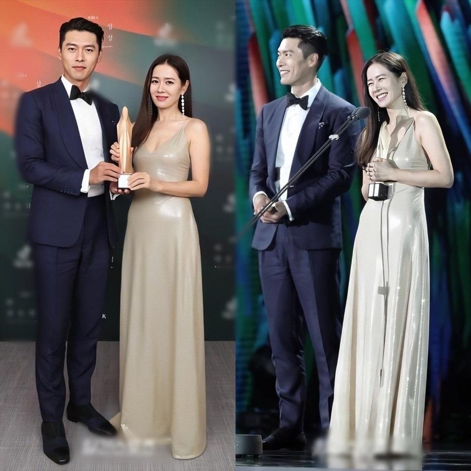 hyun bin và son ye jin nhận lễ trao giải Baeksang