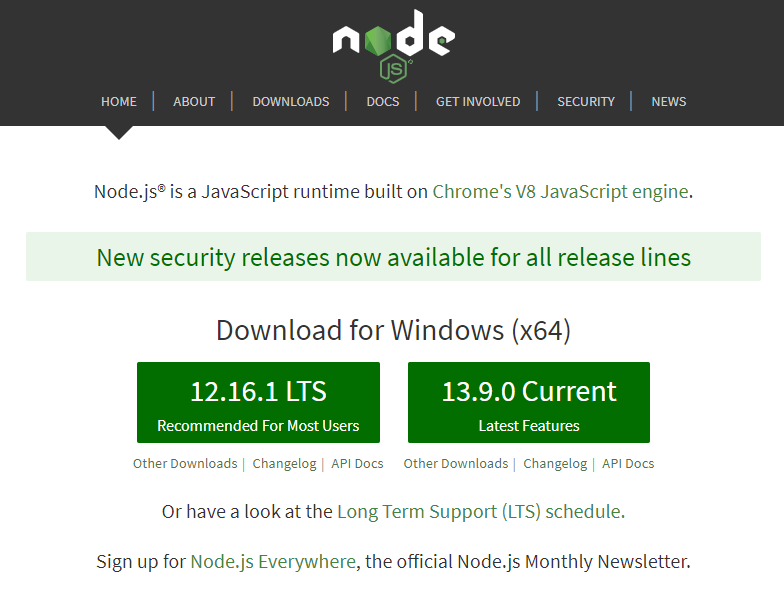 Halaman download installer Node.js