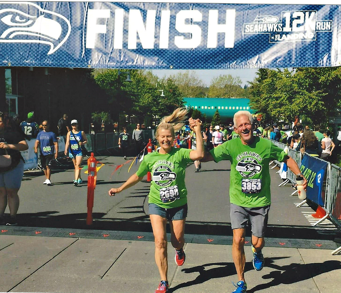 Don and Donna completing a 12K Seattle Seahawks run