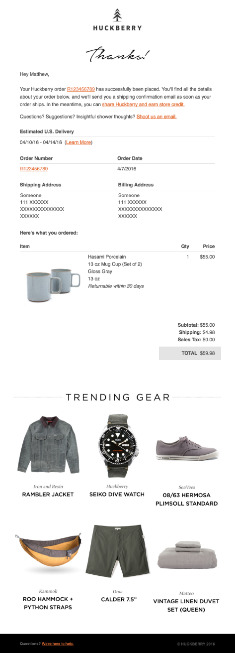 Triggered email examples: optimizing transactional emails