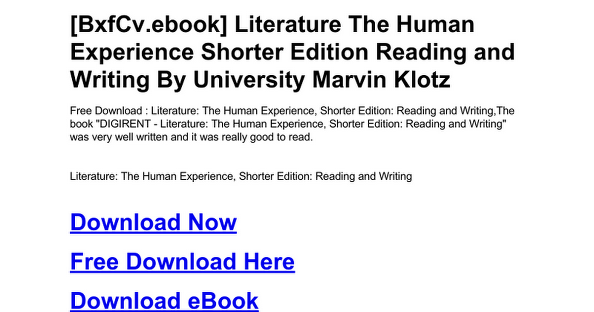 Literature: Reading and Writing the Human Experience