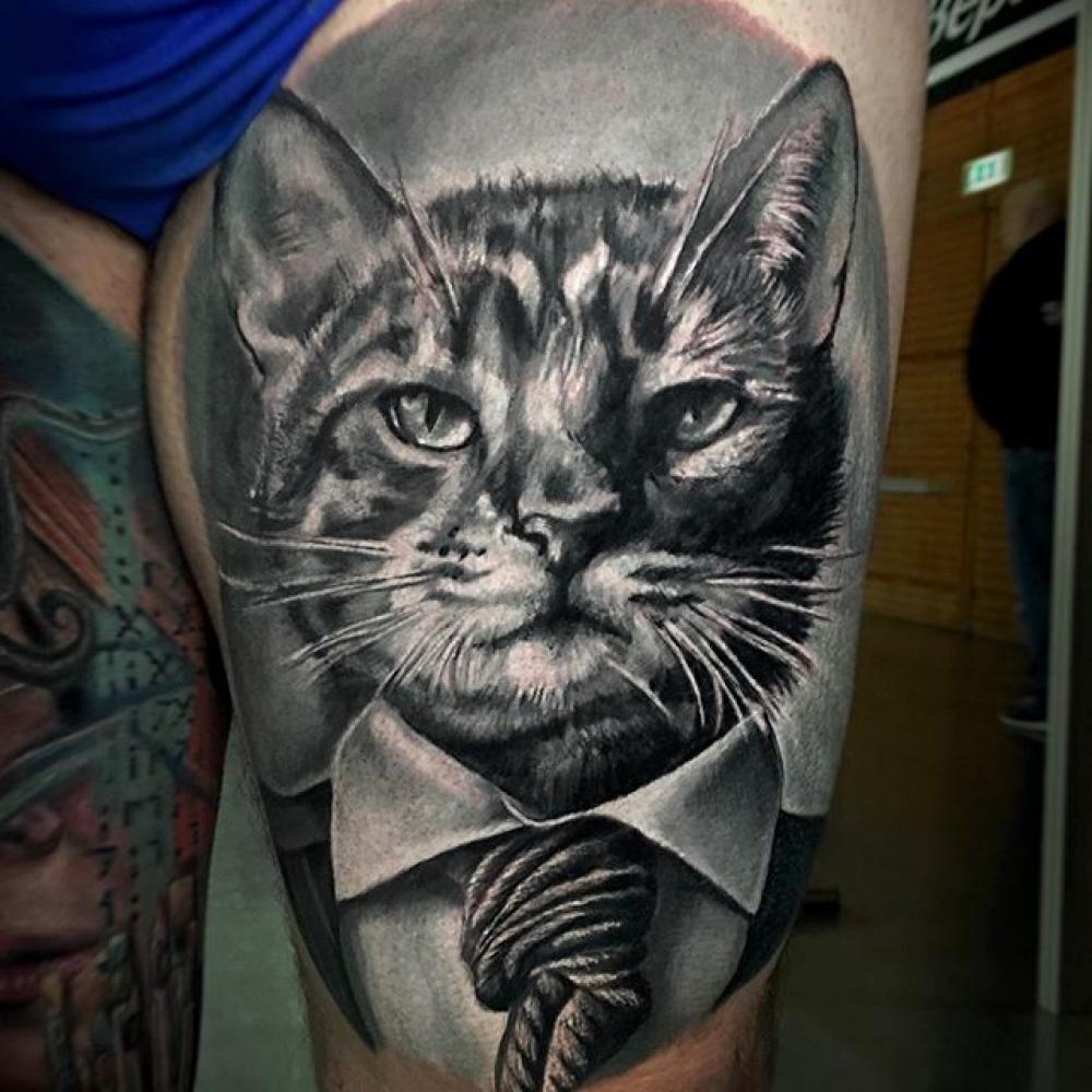 ลายสักแมวขาวดำ4